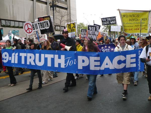 Image of SF Anti-war Rally with 9-11 Truth for Peace banner
