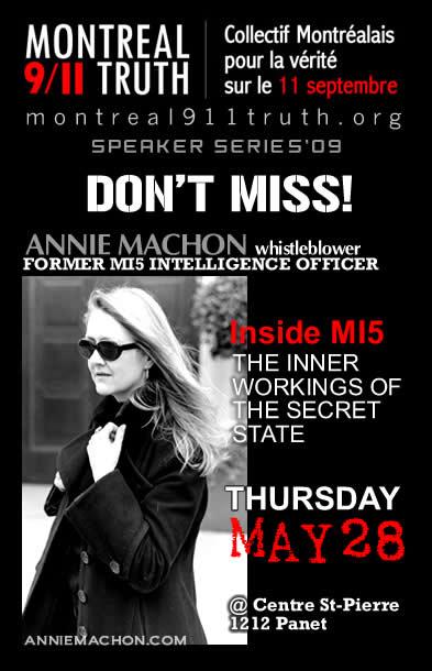 Annie Machon Lecture Tour Poster