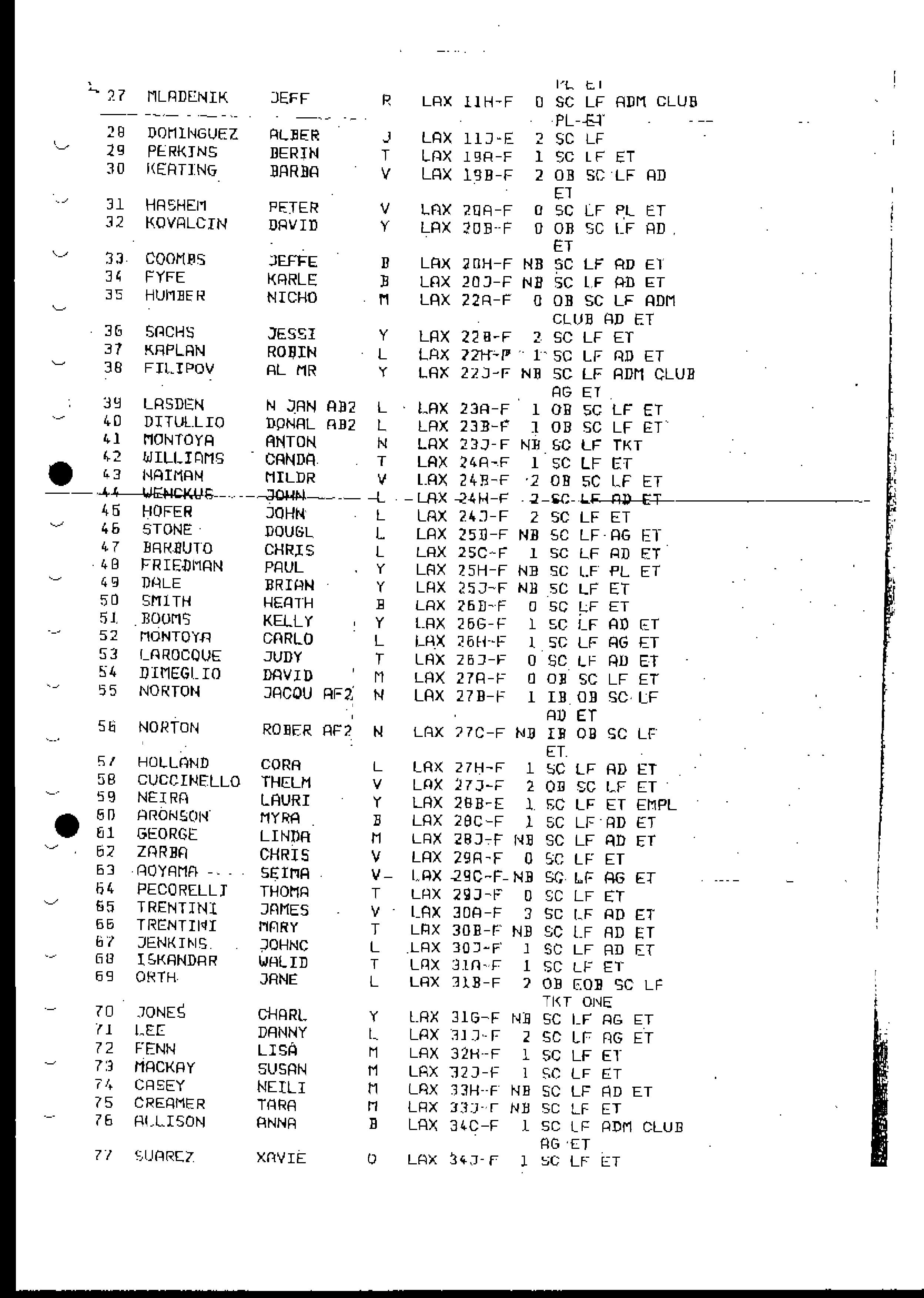 Image of Flight 11 Manifest b
