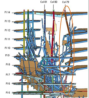 Image showing the buckling of WTC 7 Column 79