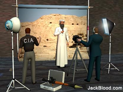 Image of CIA filming Osama against an Afghan backdrop by Jack Blood