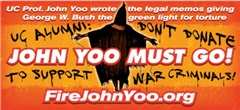 Image of banner for John Yoo must go