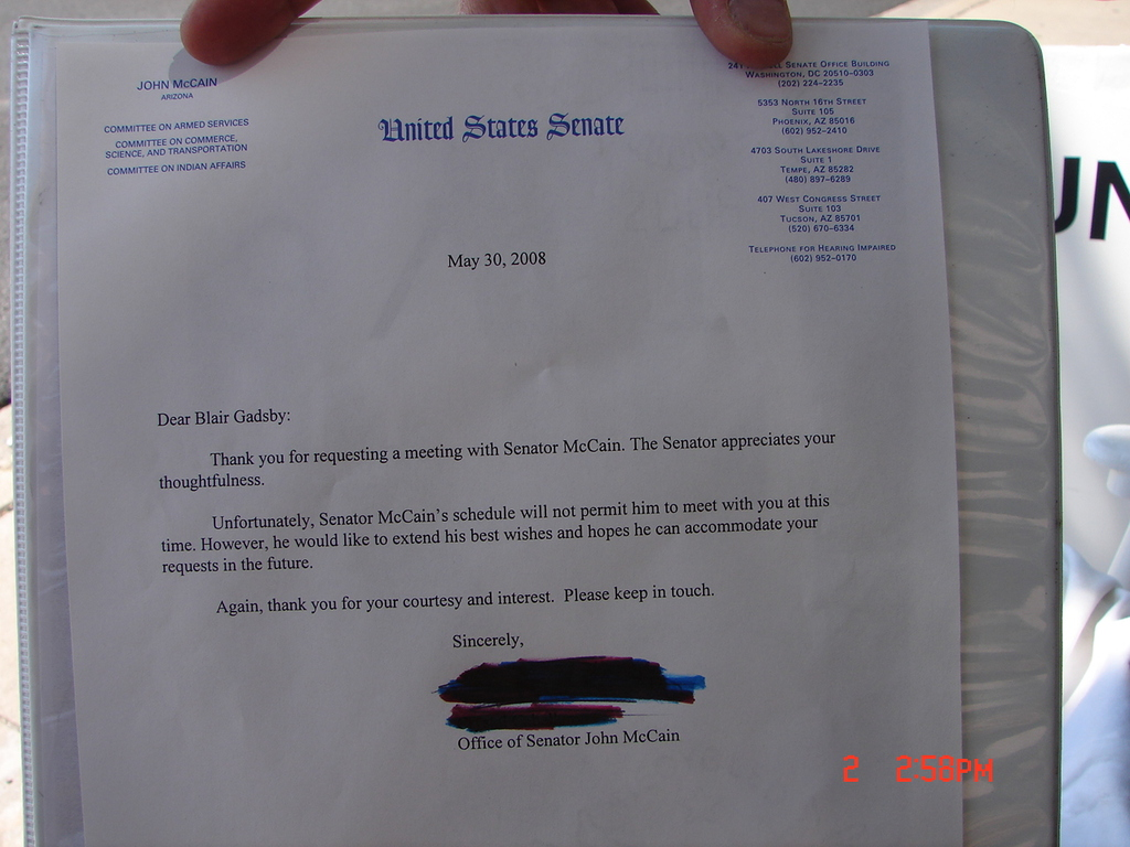 Photo of a letter from Senator John McCain to Blair Gadsby