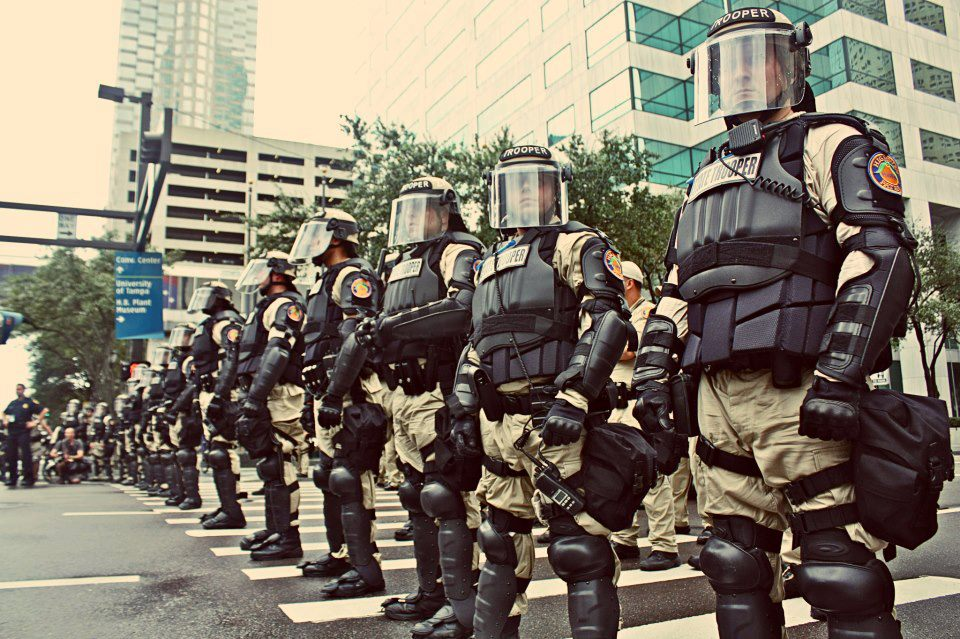 Photo of militarized police force