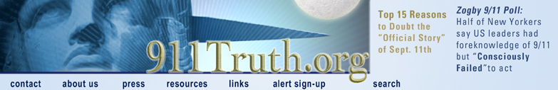 Screenshot of 911truth.org banner when Zogby Poll results were released