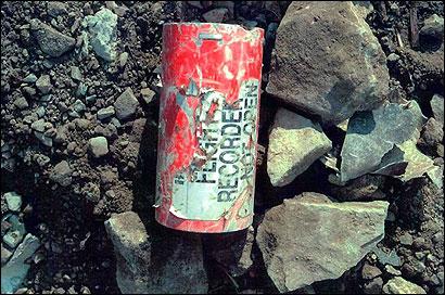 Photo of a damaged flight data recorder
