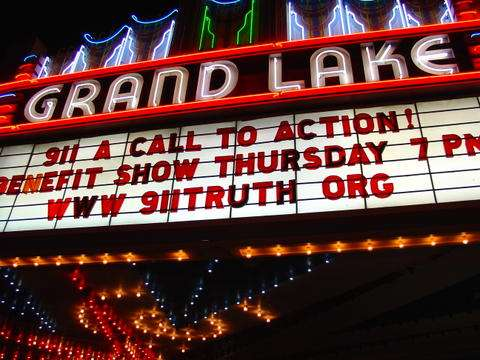 Grand Lake Theatre marquis showing 911 Call to Action