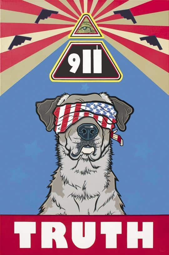 "Poster of a dog wearing a blindfold with ""911"" above and ""truth"" below the dog."