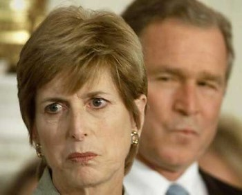 Photo of Christine Todd Whitman of EPA and President Bush