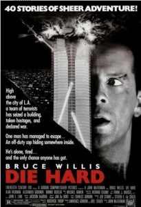 Poster from the Die Hard Movie of Bruce Willis with a terror attack on a tower in the background