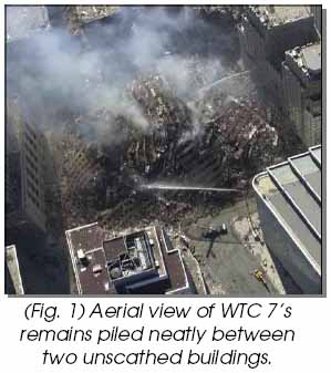 Aerial view of WTC7's remains piled neatly between two unscathed buildings
