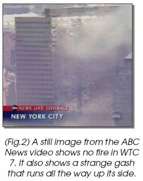 View of South face of Building 7 from ABC News with small fires