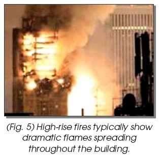 Building engulfed in large fire with caption: High-rise fires typically show dramatic flames spreading thoughtout the building