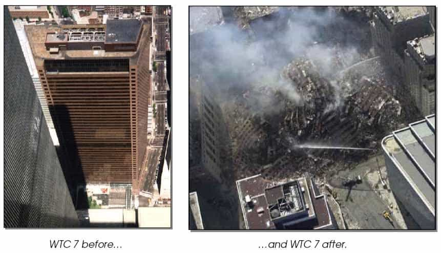 Photos of Building 7 before and after collapse