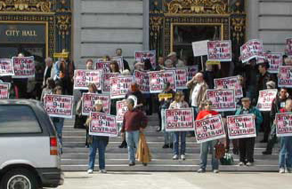 9/11 Truth Movement portests at San Francisco City Hall in 2004