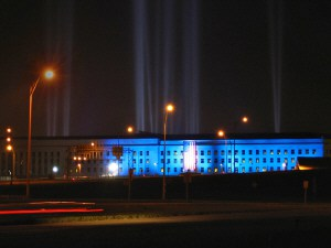Photo of a tribute light display at the Pentagon, marking the 5th anniversary of the 9/11 attacks. Photo by AudeVivere, taken on September 9, 2006.