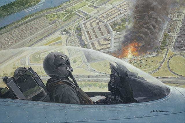 Over Washington, a North Dakota Air Guard F-16 of the 119th Fighter Wing on a combat air patrol over the burning Pentagon on September 11, 2001 depicted in a painting