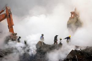 Image of firefighters in dust cloud at Ground Zero