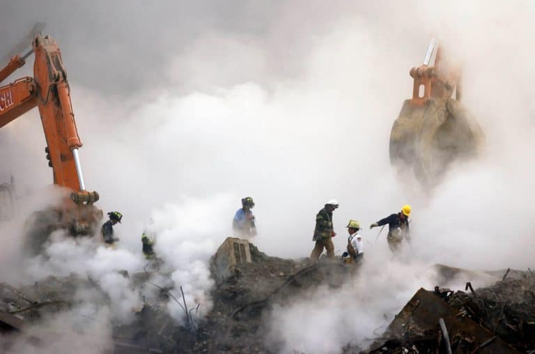 Image of firefighters and volunteers have high incidence of cancers from toxic dust clouds at Ground Zero