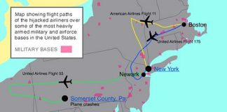 Graphic by mediaLab of Flightpaths and military bases on 9/11