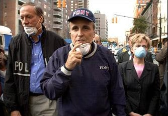Rudolph Giuliani walking around Manhattan on September 11, 2001