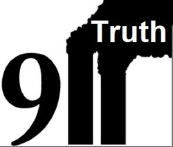 Graphic of 911 truth logo with the 1's shaped like the WTC Twin Towers