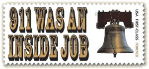 9/11 Was An Inside Job stamp with image of the Liberty Bell on a Forever stamp