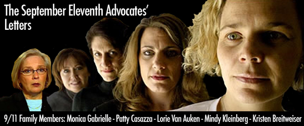 Banner image for September 11th Advocates with photo of members Monica Gabrielle, Patty Cassaza, Lorie Van Auken, Mindy Kleinberg and Kristen Breitweiser