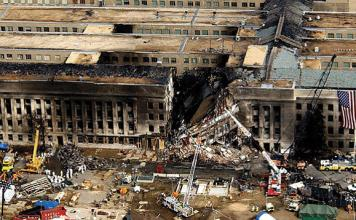 Aerial view of the damage from American 77 to the Pentagon on 9/11