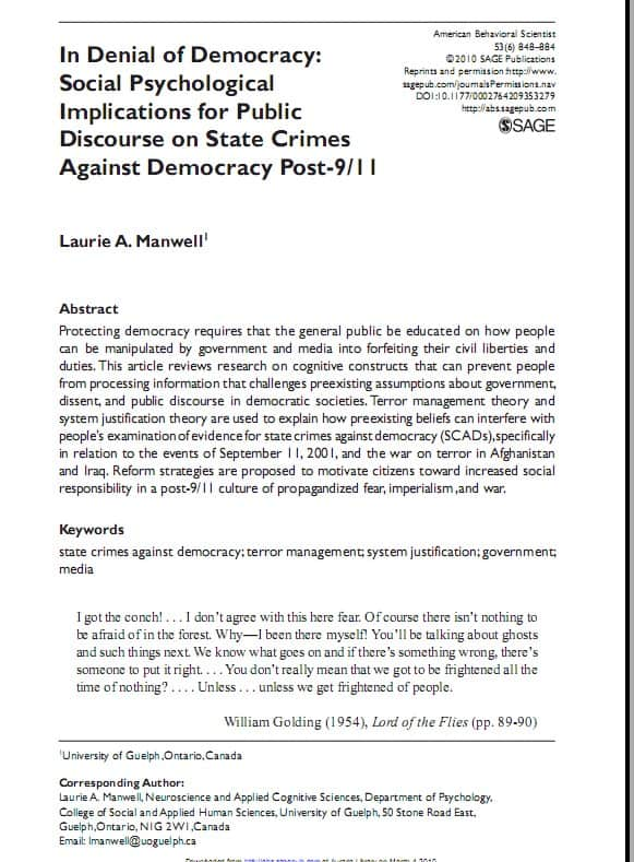 An abstract from American Behavioral Scientist on the social psychological implications for public discourse on state crimes against democracy