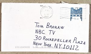 Image of the envelope of anthrax mailed to Tom Brokaw