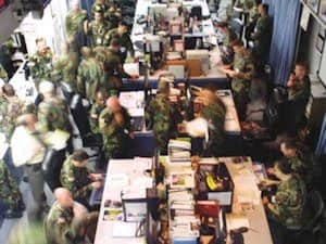 Photo of Army Operations Center Training Exercise for Plane hitting WTC