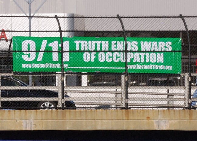 Boston 911 Truth Hi-Way Banner reads: 9-11 truth ends wars of occupation