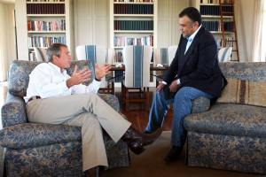 Photo of President George W. Bush meets with Prince Bandar bin Sultan