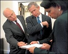 Photo of Bush, Rice, Cheney by White House photgrapher Eric Draper