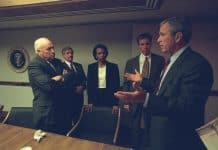 Photo of Bush with Cheney Rice and Senior Staff