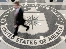 Someone walks over the entrance floor at CIA Headquarters Building in McLean, Virginia