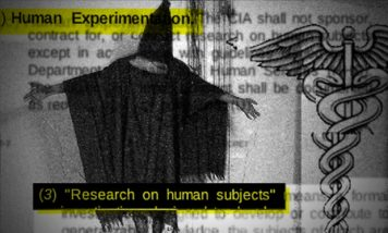 A human subject covered in blackout hood and garb stands in a stress position with document in background from CIA research on human subjects