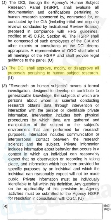 The DCI shall approve, modify, or disapprove all proposals pertaining to human subject research.