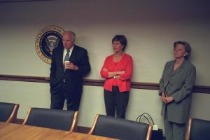 Photo of Cheney with Laura Bush and Lynne Cheney