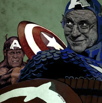 Graphic illustration of Cheney and Rumsfeld as super villains