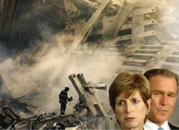 Headshot of Christine Todd Whitman and President George W. Bush  superimposed over image of Ground Zero pile in background