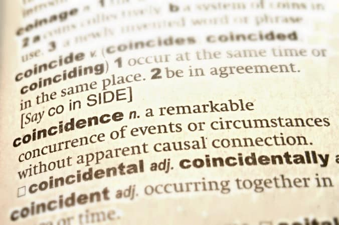 Image of the dictionary with the definition of the word 'coincidence'