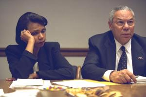 Photo of Colin Powell And Condoleezza Rice in Meeting