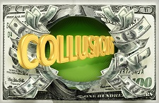 "Money laundering and collusion: the word ""Collusion"" surrounded by cash"