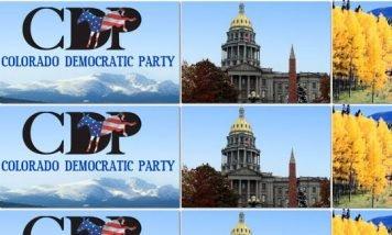 Colorado Democraticic Platform banner and view of Colorado Capitol