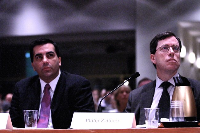 9/11 Commission Executive Director Philip Zelikow sits next to staffer John Azarello at the air defense hearings in Washington DC