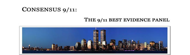 Consensus 9/11 Panel banner with view of Twin Towers
