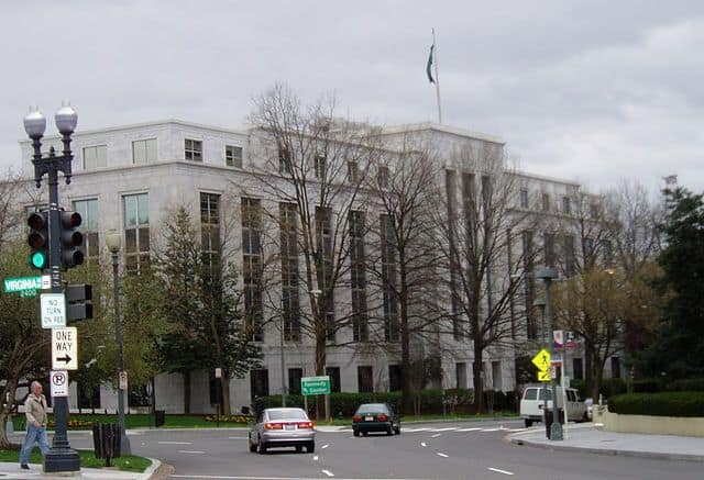 View of the Saudi Embassy in Washington DC