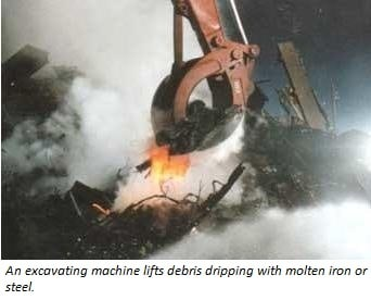 Photo of evidence of molten iron or steel found at Groun Zero